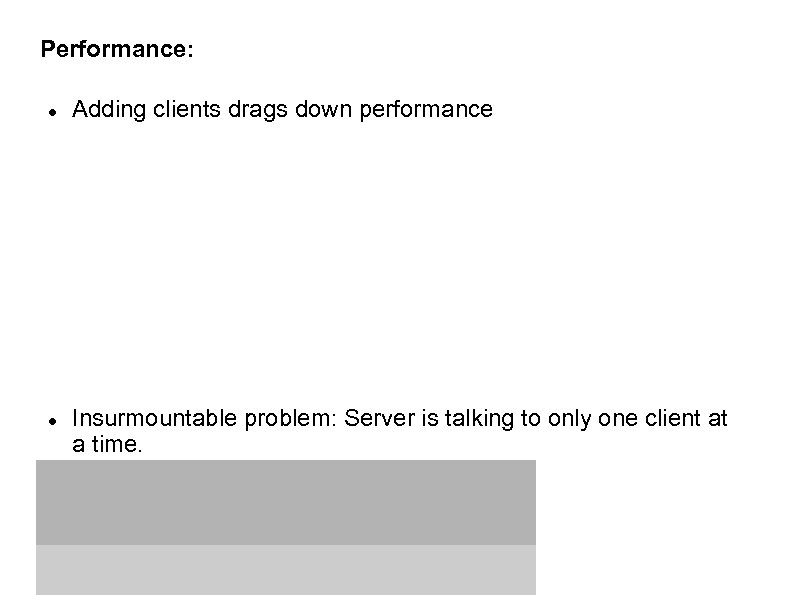 Performance: Adding clients drags down performance Insurmountable problem: Server is talking to only one
