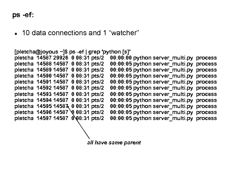 """ps -ef: 10 data connections and 1 """"watcher"""" [pletcha@joyous ~]$ ps -ef 