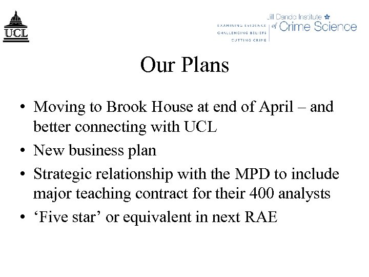 Our Plans • Moving to Brook House at end of April – and better
