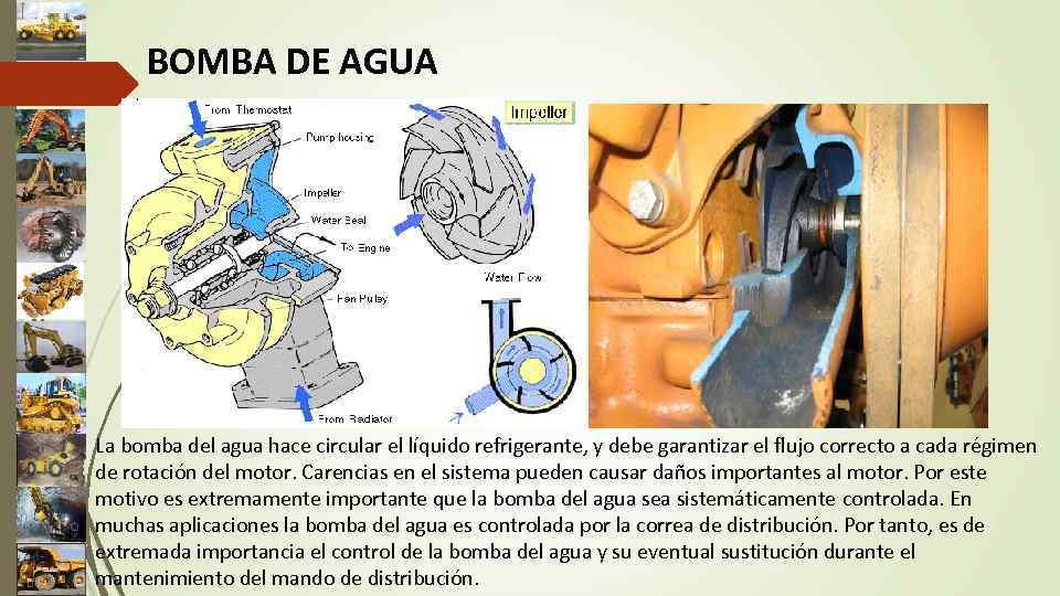 BOMBA DE AGUA La bomba del agua hace circular el líquido refrigerante, y debe