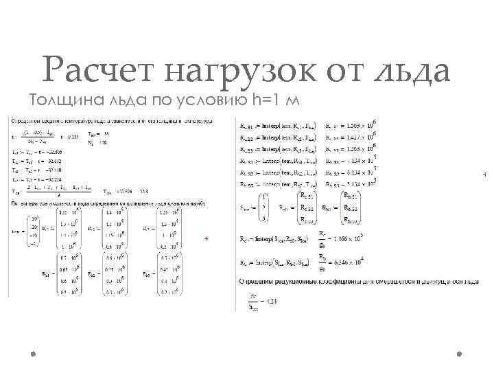Расчет нагрузок от льда Толщина льда по условию h=1 м