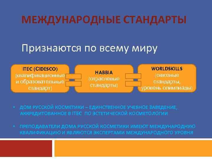 МЕЖДУНАРОДНЫЕ СТАНДАРТЫ Признаются по всему миру ITEC (СIDESCO) (квалификационные и образовательные стандарт) HABBIA (отраслевые