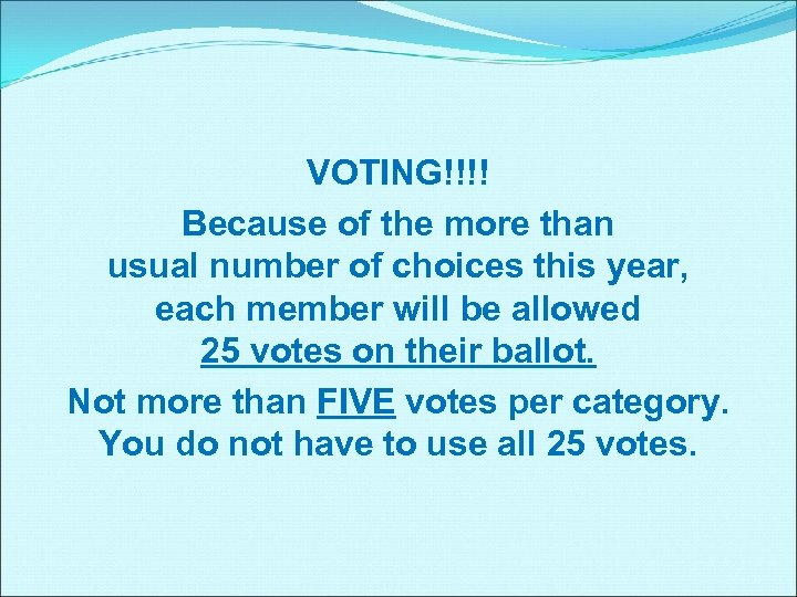 VOTING!!!! Because of the more than usual number of choices this year, each member