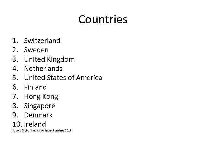 Countries 1. Switzerland 2. Sweden 3. United Kingdom 4. Netherlands 5. United States of