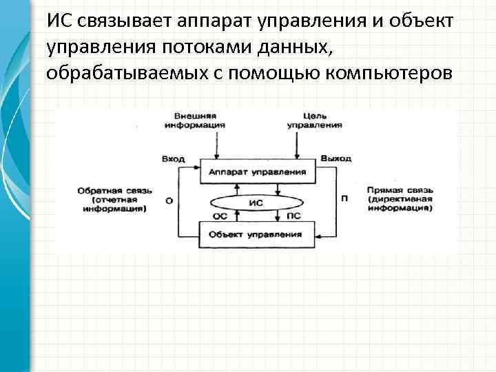 ИС связывает аппарат управления и объект управления потоками данных, обрабатываемых с помощью компьютеров
