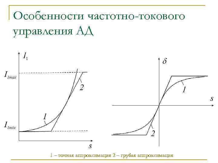 Особенности частотно-токового управления АД 1 – точная аппроксимация 2 – грубая аппроксимация