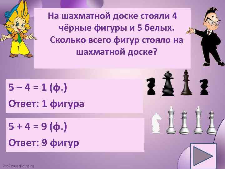 На шахматной доске стояли 4 чёрные фигуры и 5 белых. Сколько всего фигур стояло
