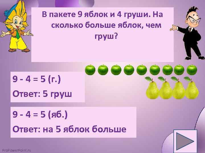 В пакете 9 яблок и 4 груши. На сколько больше яблок, чем груш? 9