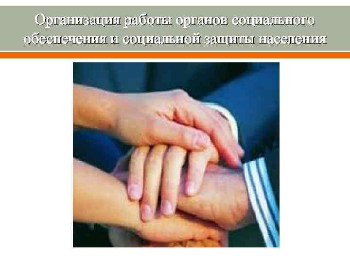 Организация работы органов социального обеспечения и социальной защиты населения