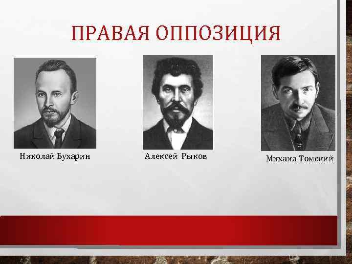 ПРАВАЯ ОППОЗИЦИЯ Николай Бухарин Алексей Рыков Михаил Томский