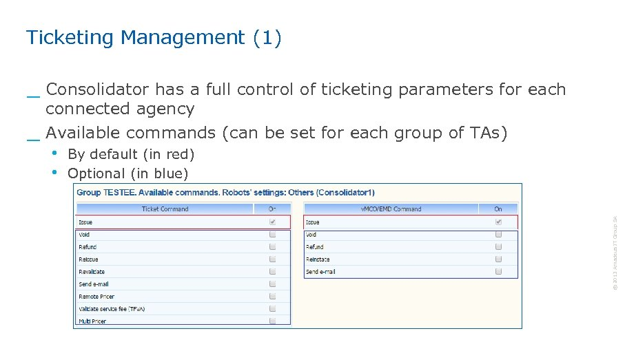 Ticketing Management (1) _ Consolidator has a full control of ticketing parameters for each