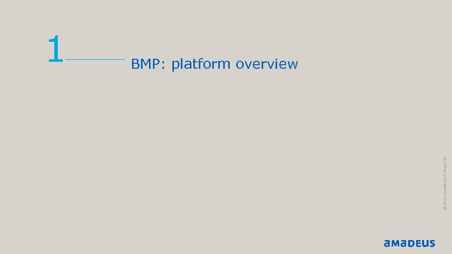 © 2013 Amadeus IT Group SA 1 BMP: platform overview
