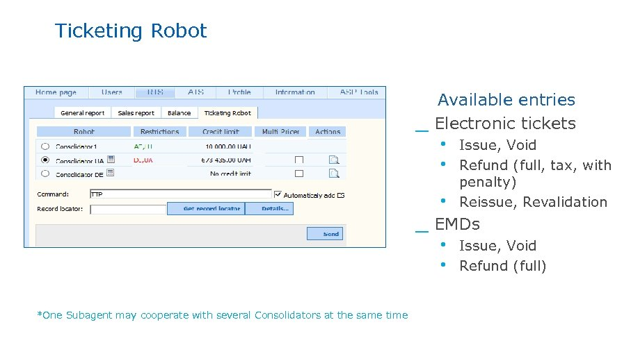 Ticketing Robot _ Available entries Electronic tickets • Issue, Void • Refund (full, tax,