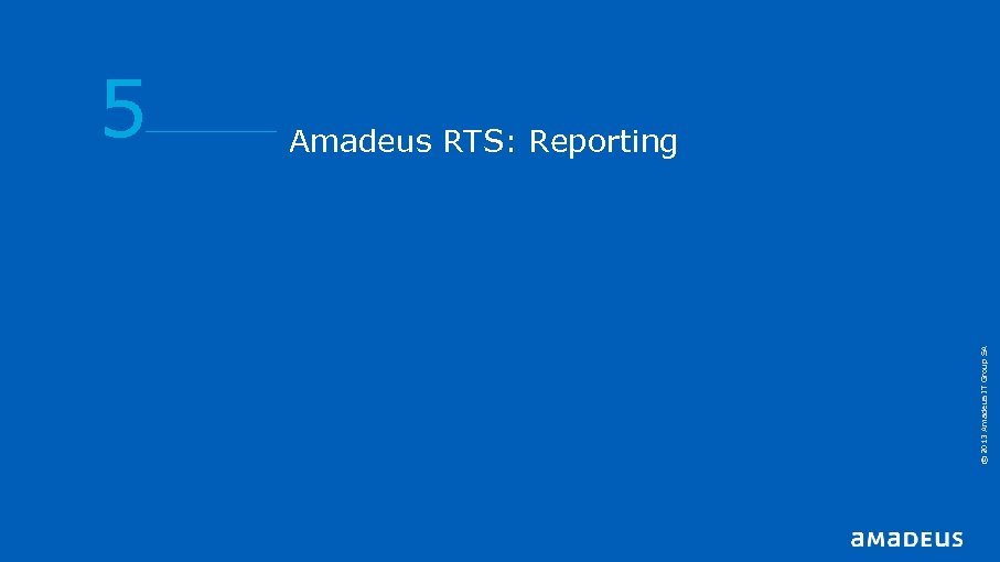 © 2013 Amadeus IT Group SA 5 Amadeus RTS: Reporting
