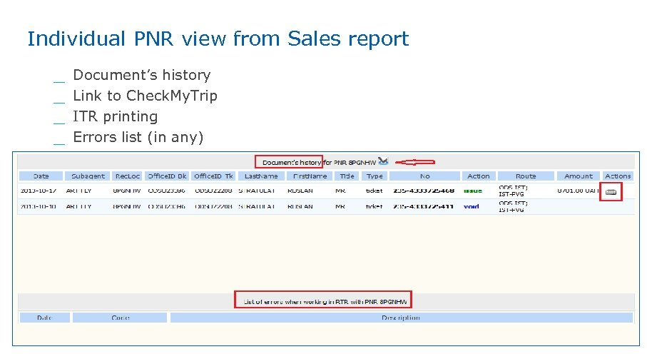 Individual PNR view from Sales report Document's history Link to Check. My. Trip ITR
