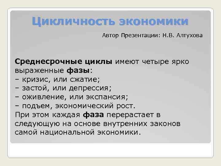 Цикличность экономики Автор Презентации: Н. В. Алтухова Среднесрочные циклы имеют четыре ярко выраженные фазы: