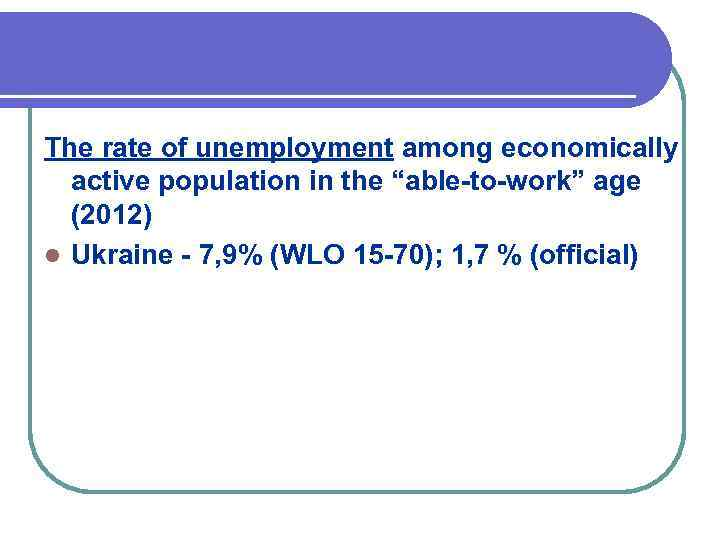 """The rate of unemployment among economically active population in the """"able-to-work"""" age (2012) l"""