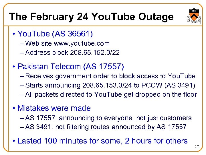 The February 24 You. Tube Outage • You. Tube (AS 36561) – Web site