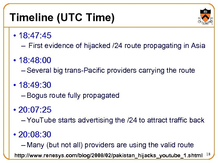 Timeline (UTC Time) • 18: 47: 45 – First evidence of hijacked /24 route
