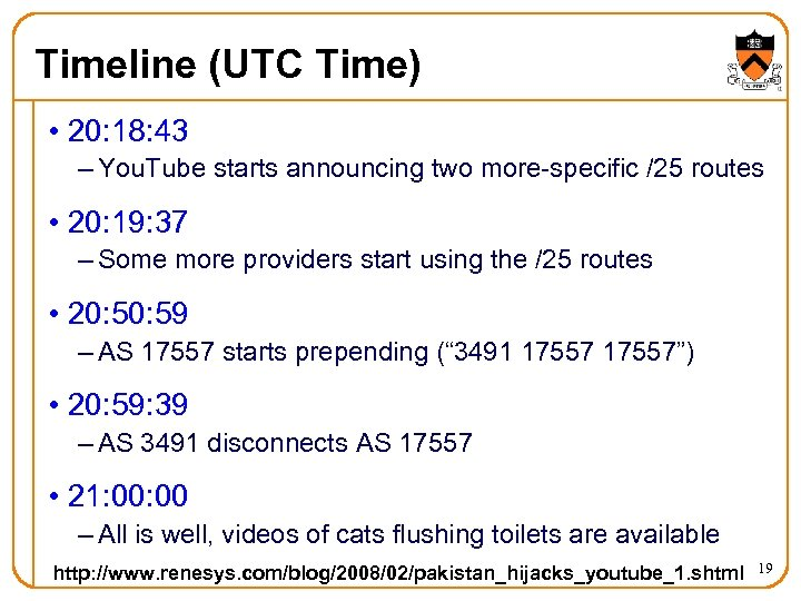Timeline (UTC Time) • 20: 18: 43 – You. Tube starts announcing two more-specific