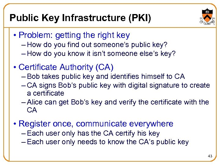 Public Key Infrastructure (PKI) • Problem: getting the right key – How do you