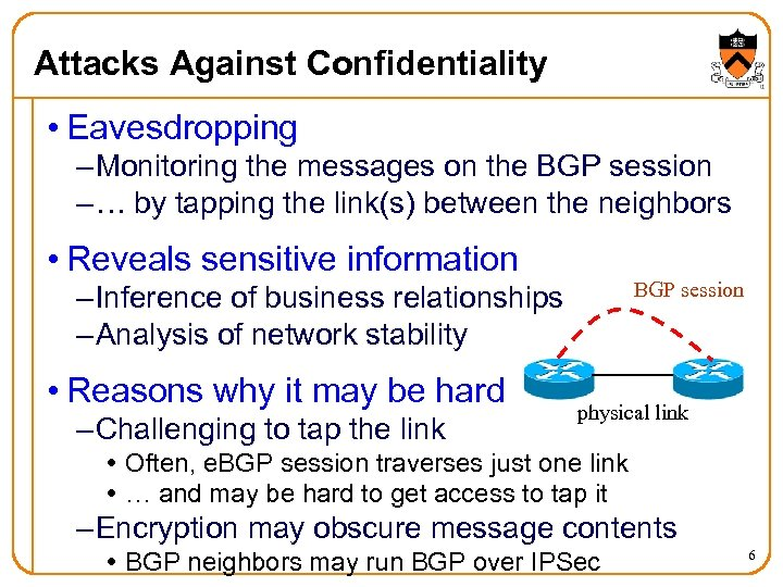 Attacks Against Confidentiality • Eavesdropping – Monitoring the messages on the BGP session –