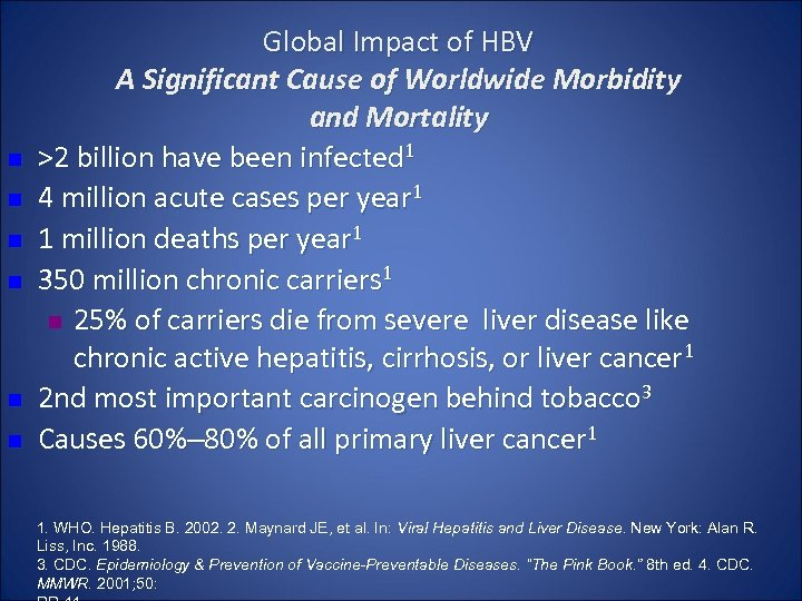 n n n Global Impact of HBV A Significant Cause of Worldwide Morbidity and