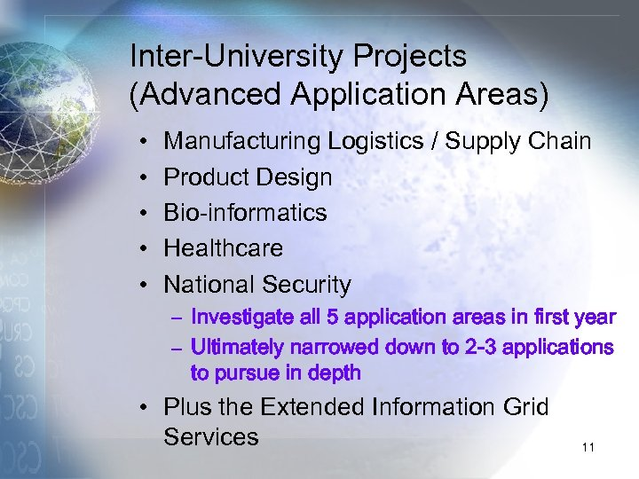Inter-University Projects (Advanced Application Areas) • • • Manufacturing Logistics / Supply Chain Product