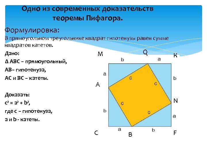Одно из современных доказательств теоремы Пифагора. Формулировка: В прямоугольном треугольнике квадрат гипотенузы равен сумме