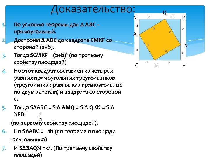 Доказательство: Q M 1. 2. 3. 4. 5. 6. 7. По условию теоремы дан