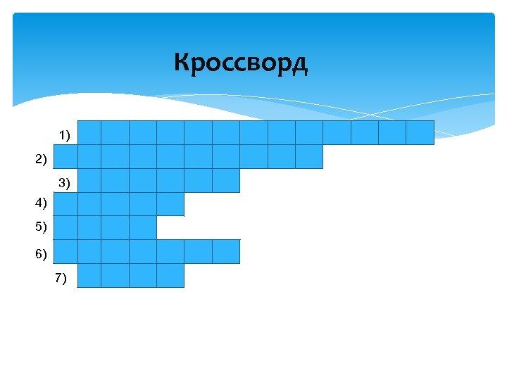 Кроссворд 1) 2) 3) 4) 5) 6) 7)