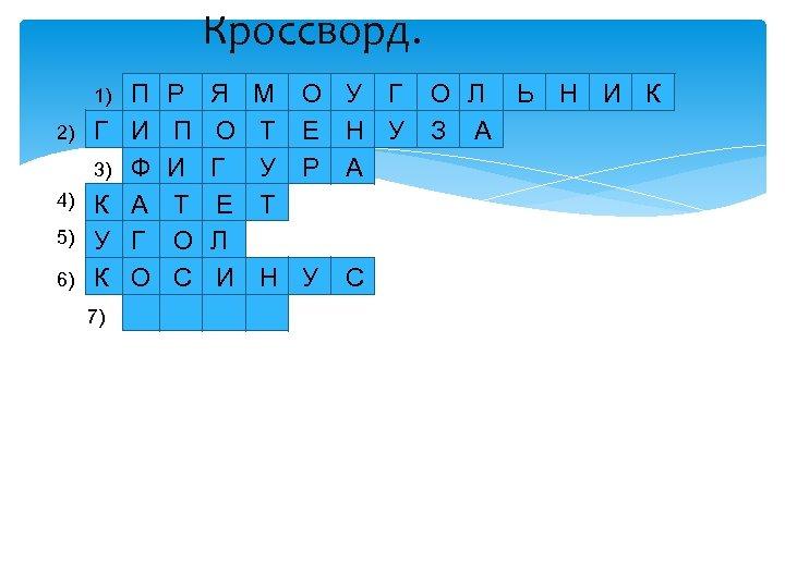 Кроссворд. 1) 2) Г 3) 4) 5) 6) К У К 7) П И