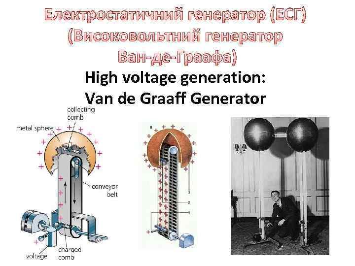 Електростатичний генератор (ЕСГ) (Високовольтний генератор Ван-де-Граафа) High voltage generation: Van de Graaff Generator