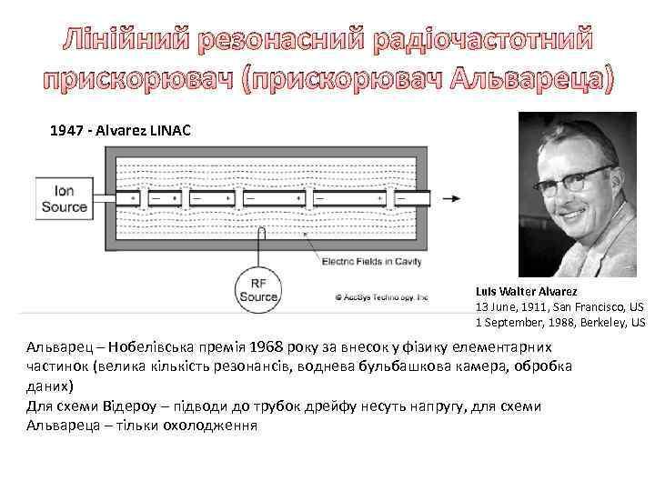 Лінійний резонасний радіочастотний прискорювач (прискорювач Альвареца) 1947 - Alvarez LINAC Luis Walter Alvarez 13