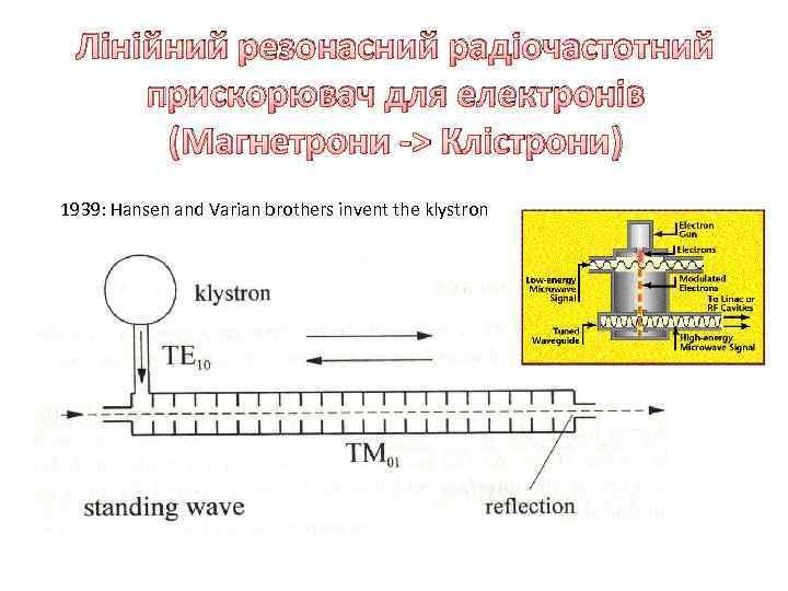 Лінійний резонасний радіочастотний прискорювач для електронів (Магнетрони -> Клістрони) 1939: Hansen and Varian brothers