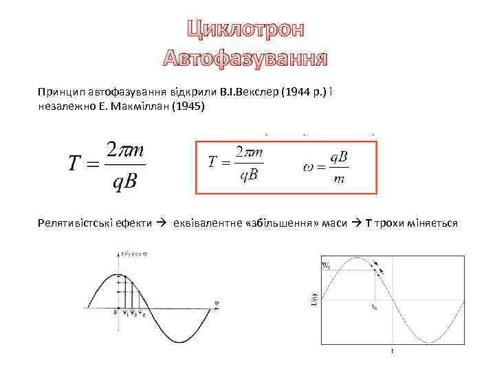 Циклотрон Автофазування Принцип автофазування відкрили В. І. Векслер (1944 р. ) і незалежно Е.