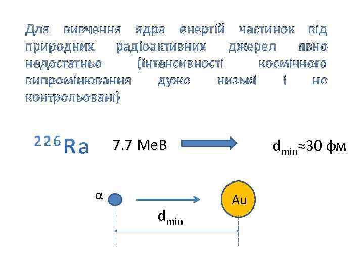 Для вивчення ядра енергій частинок від природних радіоактивних джерел явно недостатньо (інтенсивності космічного випромінювання
