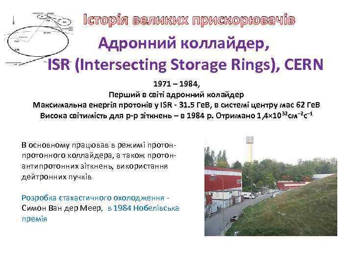 Історія великих прискорювачів Адронний коллайдер, ISR (Intersecting Storage Rings), CERN 1971 – 1984, Перший
