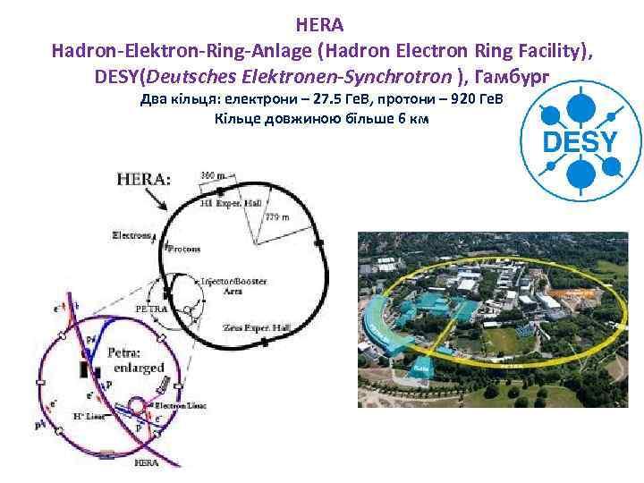 HERA Hadron-Elektron-Ring-Anlage (Hadron Electron Ring Facility), DESY(Deutsches Elektronen-Synchrotron ), Гамбург Два кільця: електрони –