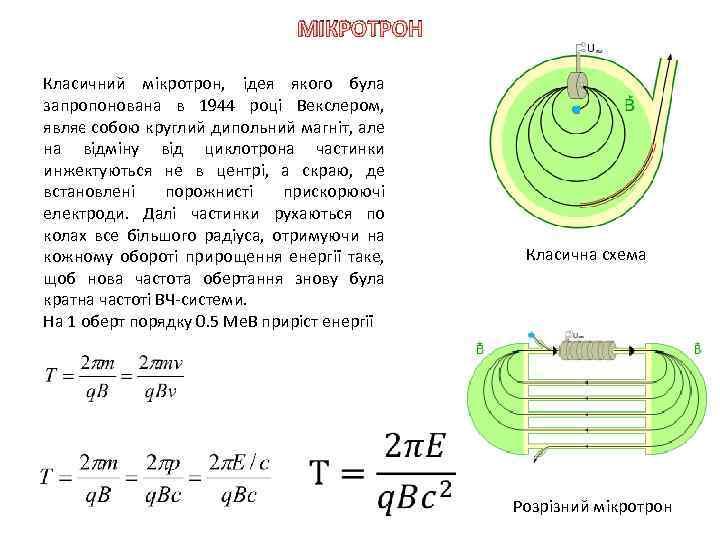МІКРОТРОН Класичний мікротрон, ідея якого була запропонована в 1944 році Векслером, являє собою круглий