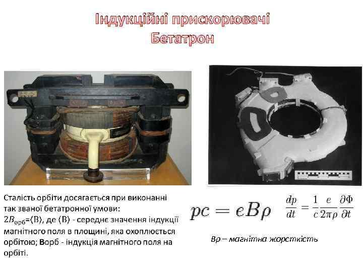 Індукційні прискорювачі Бетатрон Bρ – магнітна жорсткість