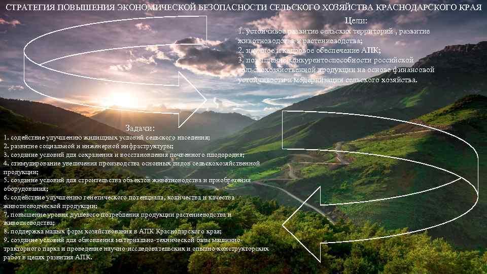 СТРАТЕГИЯ ПОВЫШЕНИЯ ЭКОНОМИЧЕСКОЙ БЕЗОПАСНОСТИ СЕЛЬСКОГО ХОЗЯЙСТВА КРАСНОДАРСКОГО КРАЯ Цели: 1. устойчивое развитие сельских территорий