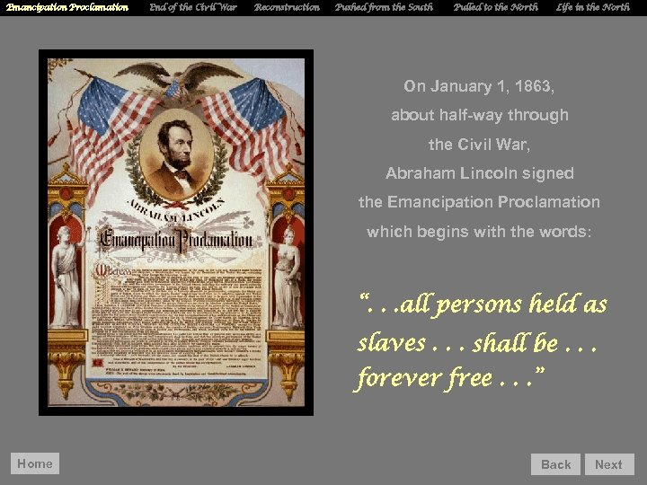 Emancipation Proclamation End of the Civil War Reconstruction Pushed from the South Pulled to