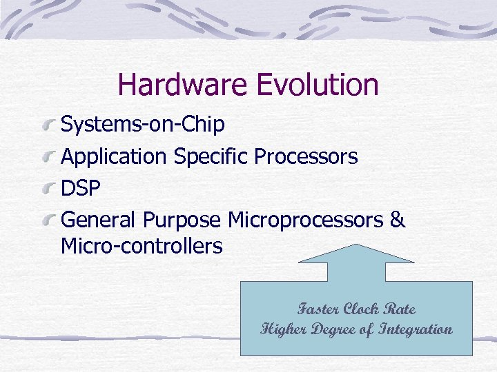 Hardware Evolution Systems-on-Chip Application Specific Processors DSP General Purpose Microprocessors & Micro-controllers Faster Clock