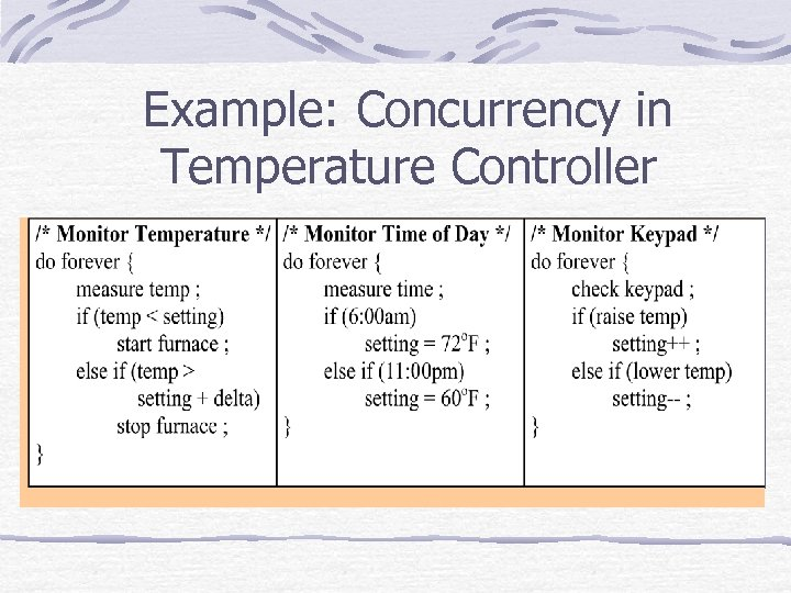 Example: Concurrency in Temperature Controller