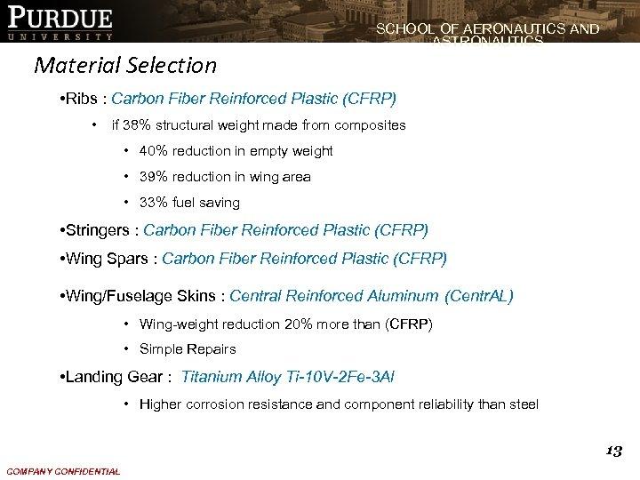 Material Selection SCHOOL OF AERONAUTICS AND ASTRONAUTICS • Ribs : Carbon Fiber Reinforced Plastic