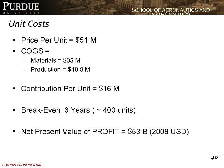 SCHOOL OF AERONAUTICS AND ASTRONAUTICS Unit Costs • Price Per Unit = $51 M