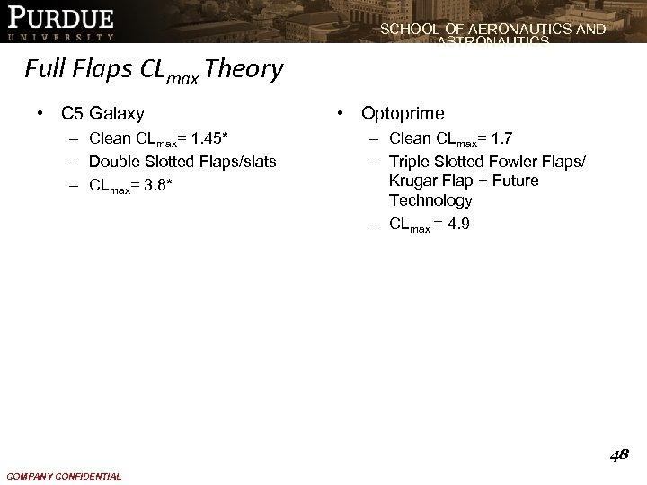 SCHOOL OF AERONAUTICS AND ASTRONAUTICS Full Flaps CLmax Theory • C 5 Galaxy –