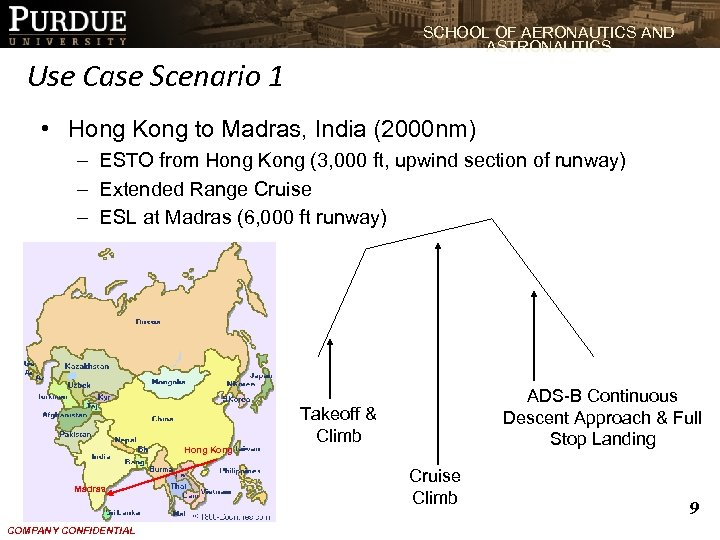 SCHOOL OF AERONAUTICS AND ASTRONAUTICS Use Case Scenario 1 • Hong Kong to Madras,