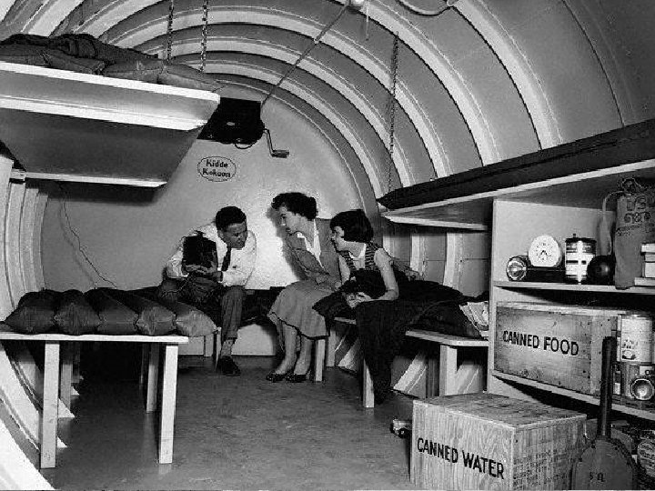 Americans were anxious by the threat of nuclear war & built fallout shelters for